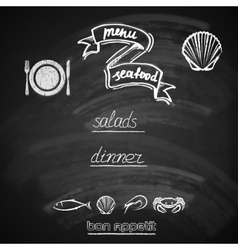 vintage seafood menu design with chalkboard vector image