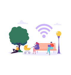 wifi in park with people using smartphone vector image