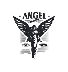 woman angel with wings takes off vector image