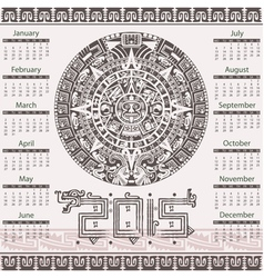 Calendar in aztec style vector image vector image
