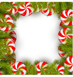 christmas background with lollipop and pine tree vector image vector image