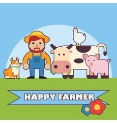 Farmer and farm animals set vector image