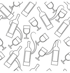 seamless pattern with wine glasses and vector image