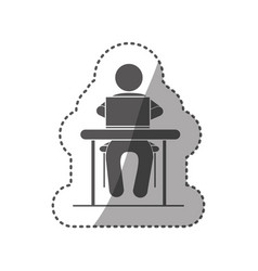 Sticker black silhouette pictogram sitting in desk vector