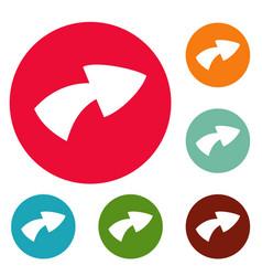 arrow icons circle set vector image vector image