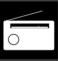 radio the white color icon vector image vector image