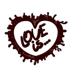 Realistic chocolate heart splash Love vector image