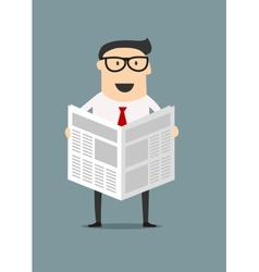 Cartoon businessman reading a newspaper vector