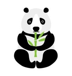 Cartoon panda sitting and eating bamboo animal vector image