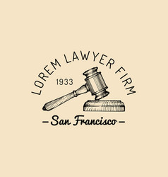 law office logo with gavel vector image vector image