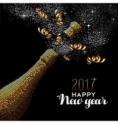 New Year 2017 gold drink bottle card design vector image