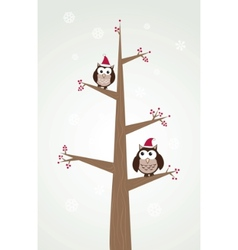 owls couple in christmas hats on the tree branch vector image vector image