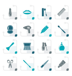 stylized cosmetic make up and hairdressing icons vector image
