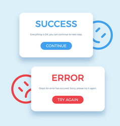 success and error message vector image vector image
