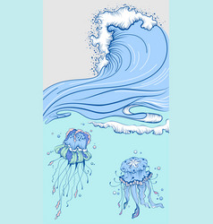 blue high wave with foam cap two jellyfish in sea vector image
