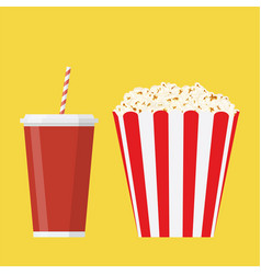 bowl full of popcorn and glass of drink vector image