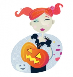 halloween girl vector image vector image