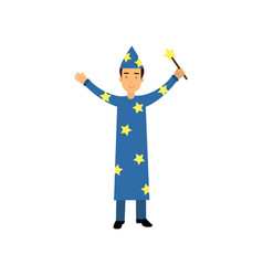magician in a blue suit and cap with stars holding vector image
