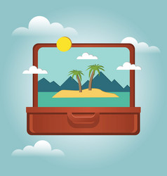 open suitcase with a tropical island inside vector image