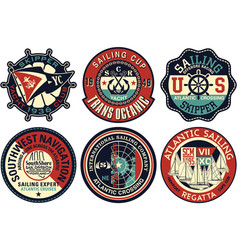 yachting sailing badges collection vector image vector image