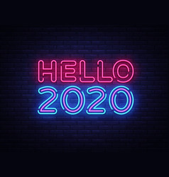 2020 hello neon sign happy new year neon vector image