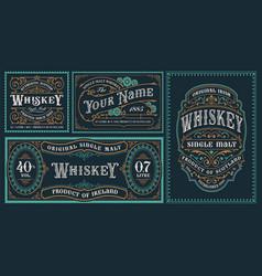 A set vintage alcohol label templates vector