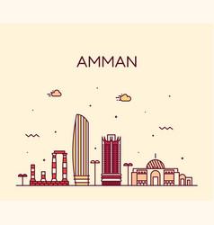 Amman skyline jordan big city linear style vector