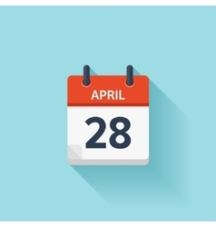 April 28 flat daily calendar icon Date vector image