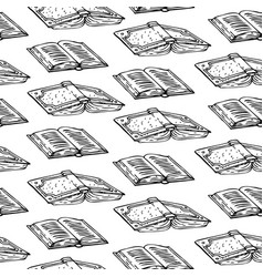 black and white books seamless pattern vector image