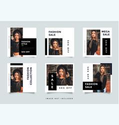 Black fashion social media promotion design layout vector