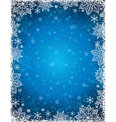 Blue background with frame of snowflakes and stars vector