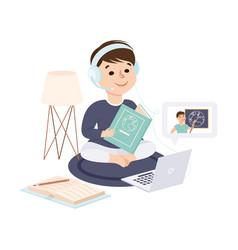 Boy sitting on floor and read textbook kid desk vector