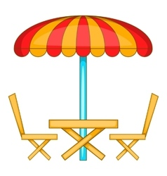 Cafe table with sun umbrella icon cartoon style vector