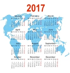calendar 2017 with world map Week starts on vector image