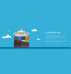 Cargo container ship banner vector