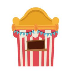 Circus tickets sale kiosk cartoon booth pennant vector