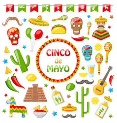 collection mexican icons isolated on white vector image