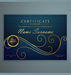 Creative blue premium certificate design with vector