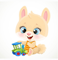 cute little bunny boy playing with a toy tractor vector image