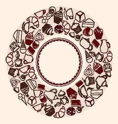 Desserts Round Background vector image