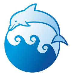 Dolphin jumping symbol vector image