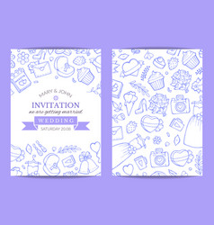 doodle wedding invitation template poster vector image