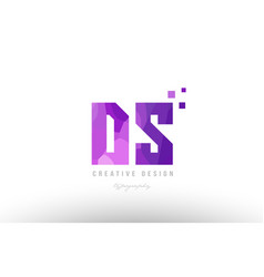Ds d s pink alphabet letter logo combination with vector