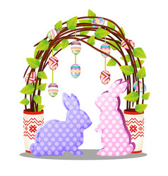 easter decor in form silhouettes hares vector image