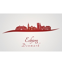 Esbjerg skyline in red and gray background in vector image