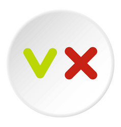 Fat tick and cross icon circle vector