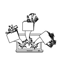 figure computer with files tools outside icon vector image