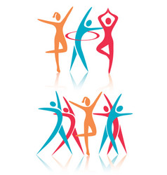 fitness dance women icons vector image