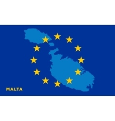 Flag european union with malta on background vector