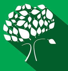 Flat Design Tree on Green Background vector image